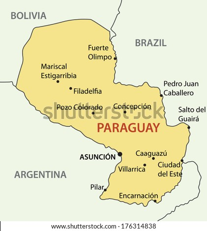 Republic of Paraguay - vector map - stock vector