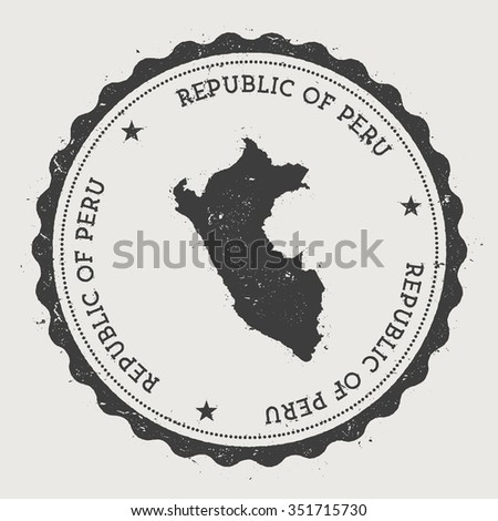 Republic of Peru. Hipster round rubber stamp with Peru map. Vintage passport stamp with circular text and stars, vector illustration - stock vector