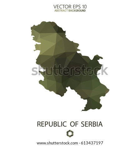 Republic of Serbia map in geometric polygonal military style.Abstract tessellation,modern design background. Vector illustration eps 10.
