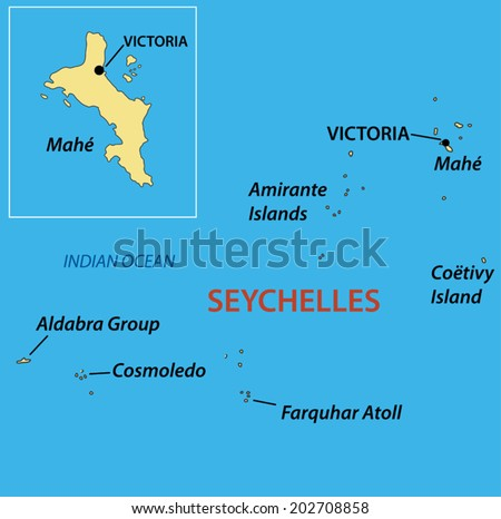 Republic of Seychelles - vector map - stock vector