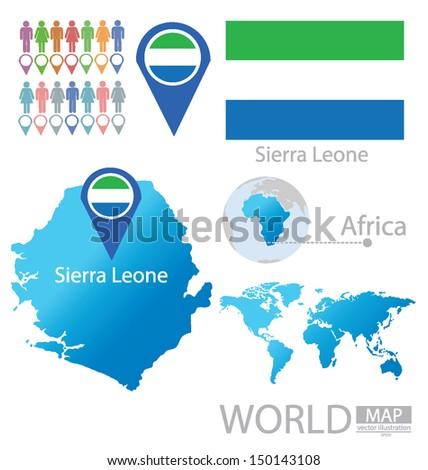 Republic of Sierra Leone. flag. World Map. vector Illustration. - stock vector