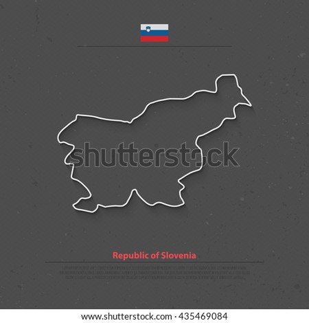 Republic of Slovenia isolated map and official flag icons. vector Slovene political thin line map over grunge background. European country geographic banner template - stock vector