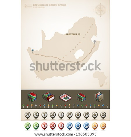 Republic of South Africa and Africa maps, plus extra set of isometric icons & cartography symbols set
