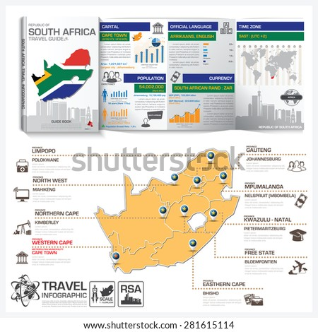 Republic Of South Africa Travel Guide Book Business Infographic With Map Vector Design Template - stock vector