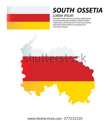 Republic of South Ossetia. flag. World Map vector Illustration.