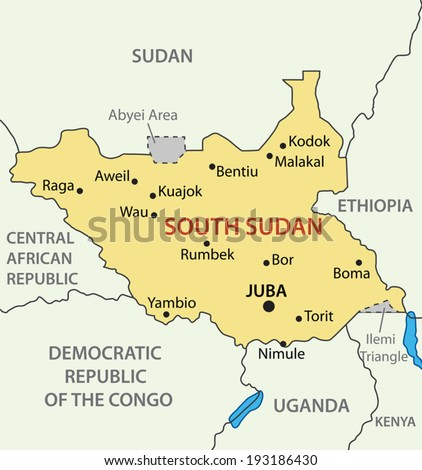 Republic of South Sudan - vector map