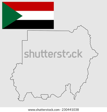 Republic of Sudan vector map contour high detailed silhouette illustration isolated on white background. original and simple Sudan flag isolated vector in official colors and Proportion Correctly. - stock vector
