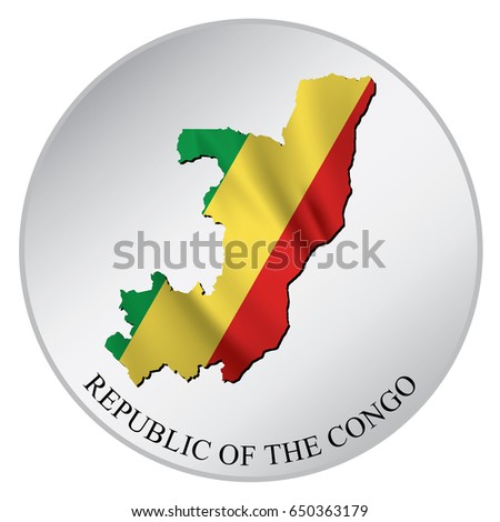 Republic of the congo vector sticker with flag and map label round tag with