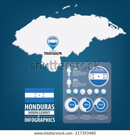 Republic of the Honduras. flag. Travel vector Illustration. infographic world travel - stock vector