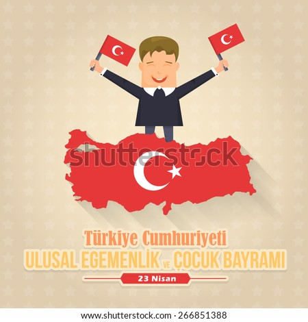 """Republic of Turkey Map and Celebration Card, Greeting Message Poster, Background, Badges - English """"National Sovereignty and Children's Day, April 23""""  - stock vector"""