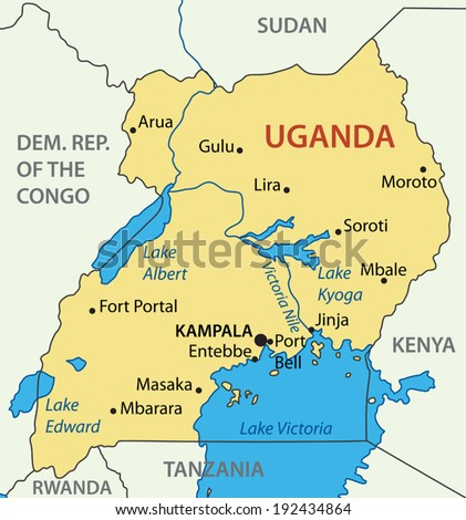 Republic of Uganda - vector map