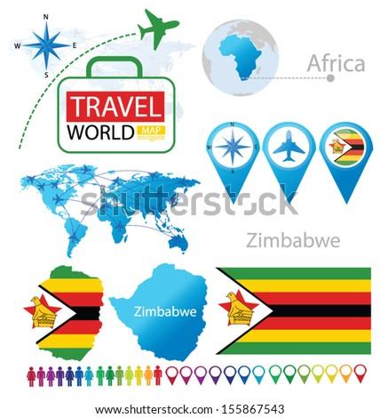 Republic Zimbabwe Flag World Map Travel Stock Vector - Republic of zimbabwe map