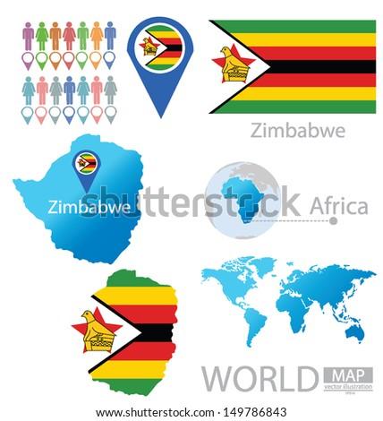Republic Zimbabwe Flag World Map Vector Stock Vector - Republic of zimbabwe map