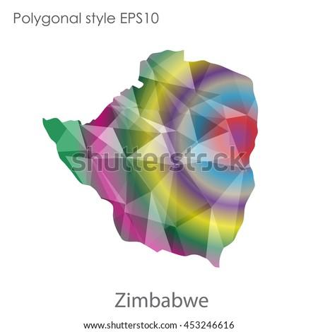 Republic Zimbabwe Map Geometric Polygonal Styleabstract Stock - Republic of zimbabwe map