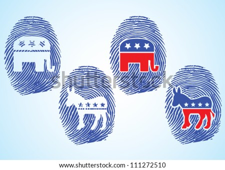 Republic Party and Democratic Party Symbol on the Thumbprint. - stock vector