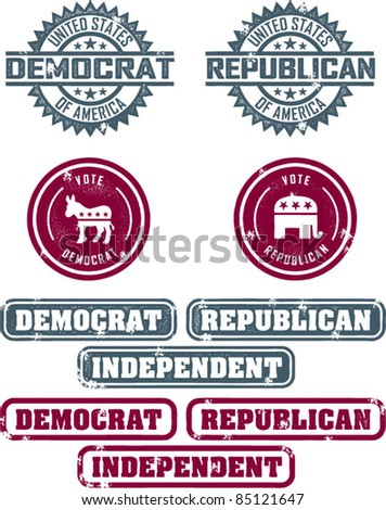 Republican & Democrat Political Stamps - stock vector