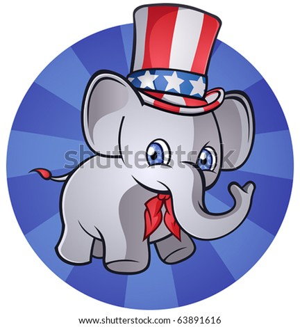 Republican Elephant Cartoon Character - stock vector