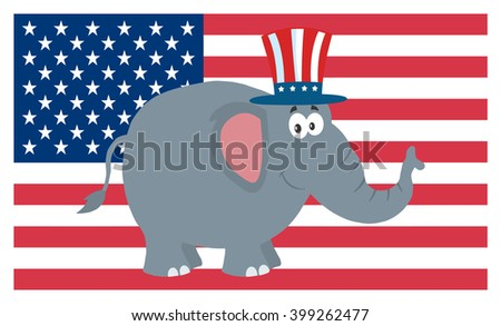 Republican Elephant Cartoon Character With Uncle Sam Hat Over USA Flag. Vector Illustration Flat Design Style