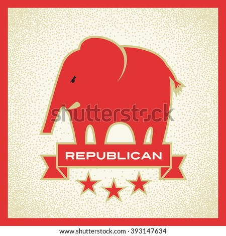 republican elephant red political election vector design - stock vector