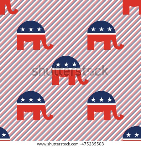 Republican elephants seamless pattern on red and blue stripes background. USA presidential elections patriotic wallpaper with republican elephants. Wrapping pattern vector illustration.