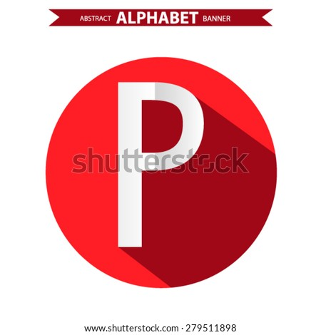 Res business icon with shadow. letter p - stock vector