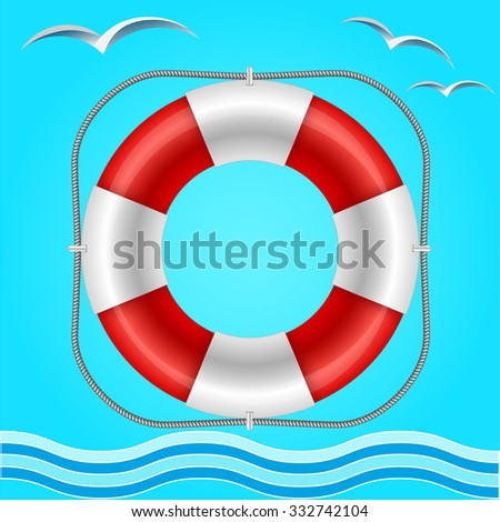 Rescue circle for help in water. Vector illustration - stock vector