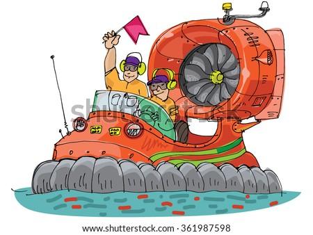 rescue hovercraft - cartoon - stock vector
