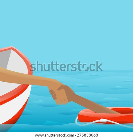 Rescue of Drowning - stock vector