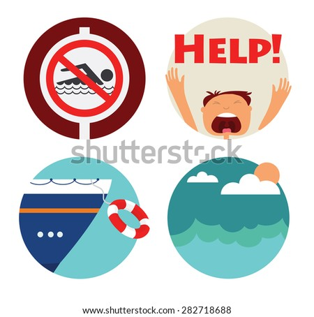 rescue of drowning man icons. Prohibition forbidden red symbols for no swimming - stock vector