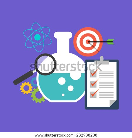 Research concept. Flat design stylish. Isolated on color background - stock vector