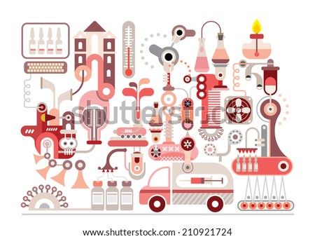 Research laboratory and pharmaceutical manufacture - isolated vector illustration on white background. - stock vector