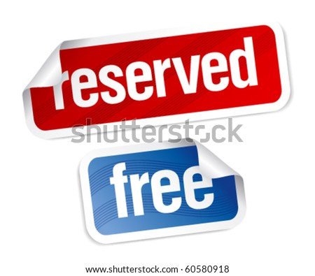 Reserved and free stickers set.