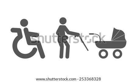 Reserved seats for disabled people - stock vector