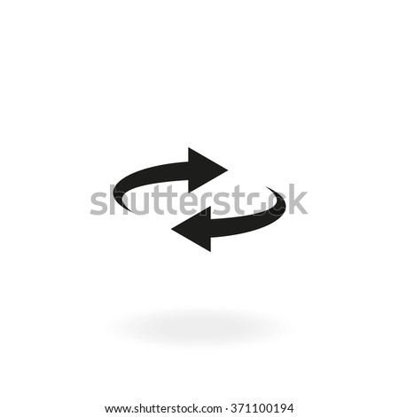 Reset button, reload arrows symbol. Flat illustration. - stock vector