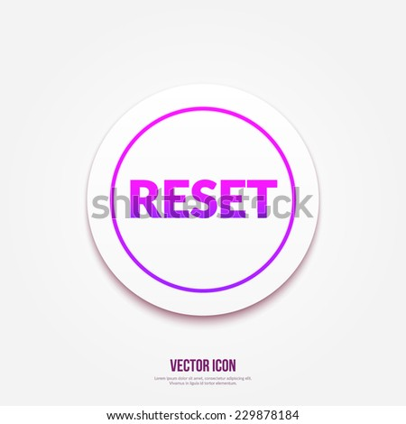 Reset button text icon - stock vector