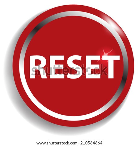 reset circular icon red on white background - stock vector