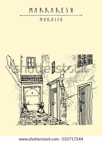 Residential courtyard in Marrakesh, Morocco, Northern Africa. Exterior in ethnic style. Travel sketchy touristic poster, postcard, coloring book page or calendar template with hand lettering - stock vector