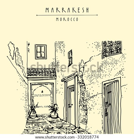 Residential courtyard in Marrakesh, Morocco, Northern Africa. Exterior in ethnic style. Travel sketchy touristic poster, postcard, coloring book page or calendar template with hand lettering in vector - stock vector