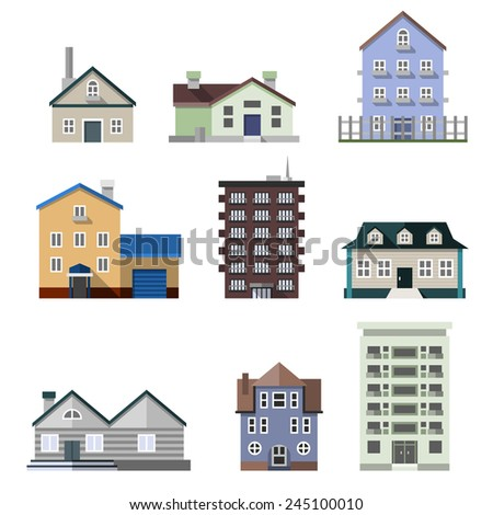 Residential house dwelling flat buildings real estate decorative icons set isolated vector illustration - stock vector