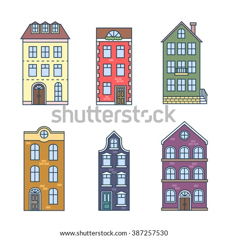 Residential houses icons in trending flat style with lines. Vector set of houses in the Dutch style - stock vector