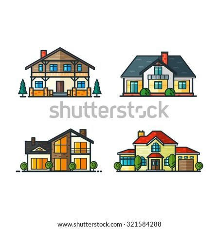 Residential houses icons in trending minimal flat style with lines. High-tech house and classic house, alpine house and modern style house. Trees separated. Set 1 - stock vector