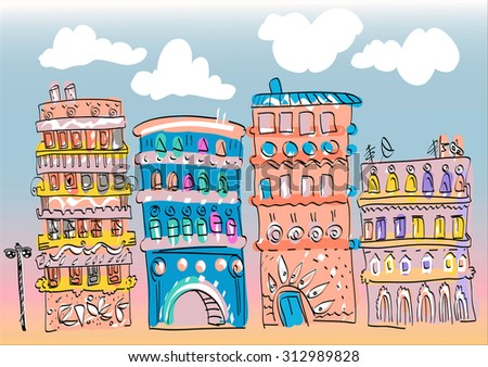 Residential Houses. Vivid pictures for greeting card, coloring book, prints or stamps and other. Isolated object vector. Background with cloud for example. Cartoon happy town - stock vector