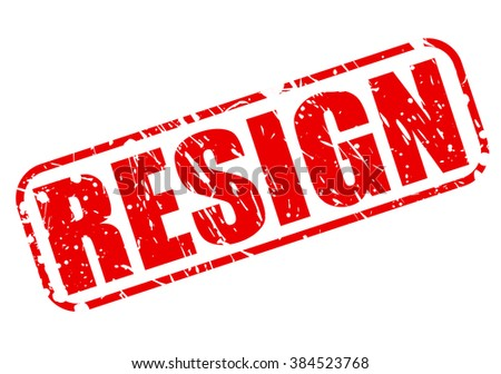 RESIGN RED STAMP TEXT ON WHITE