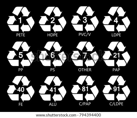 Resin Identification Code Icons Set Marking Stock Vector Royalty