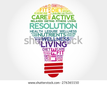 RESOLUTION bulb word cloud, health concept - stock vector
