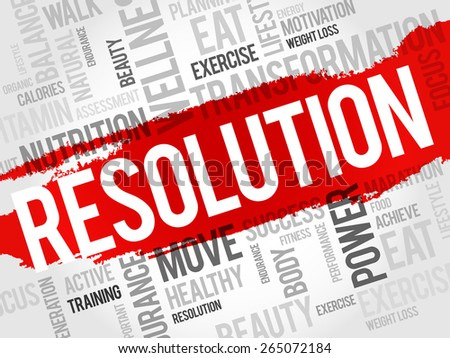 RESOLUTION word cloud, fitness, sport, health concept - stock vector