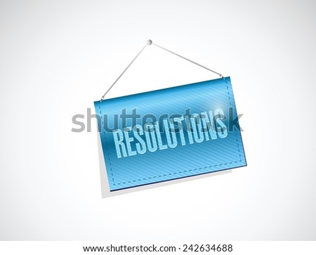 resolutions hanging banner illustration design over a white background - stock vector