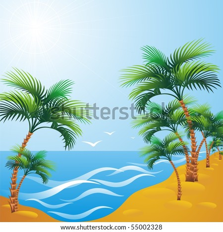 Resort. Beach with palm trees on the beach. Vector illustration. - stock vector