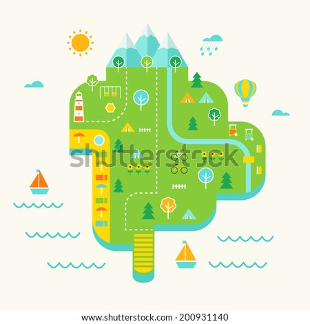 Resort Island Illustrated Map. Tourist Destination and Tourism Concept - stock vector