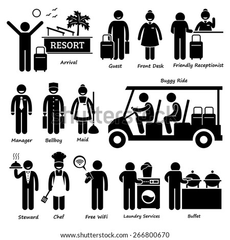Resort Villa Hotel Tourist Worker and Services Stick Figure Pictogram Icons - stock vector